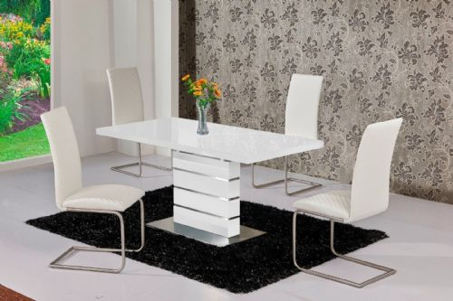 MACE High Gloss Extending 120-160 Dining Table & Chair Set - WHITE